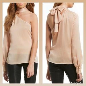1.STATE DRAMATIC PAUSE ONE SHOULDER BLOUSE BLUSH